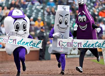 Comfort Dental's on-field 'Tooth Trot.'