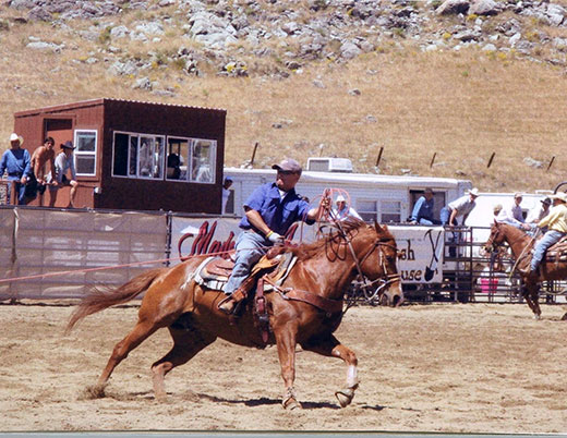Dr. Chiang participating in a roping competition