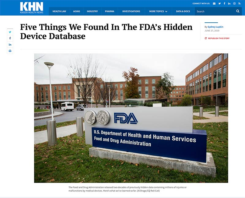 "Millions of Bad Dental Implants  Surface in ""Secret"" FDA Database"